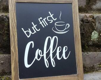Coffee Chalkboard Sign, Kitchen Decor, Framed