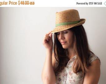 SALE Vintage woven straw hat