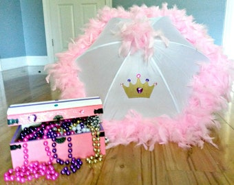 Princess Party Pack- Centerpiece- Princess Gifts- Princess Parasol Umbrella- Princess Treasure Chest Painted Wood Personalized Birthday Girl