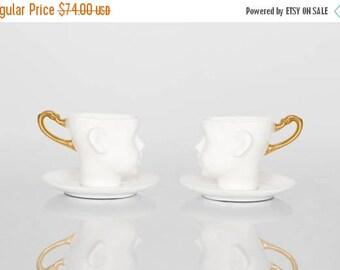 SALE Porcelain coffee mug,  ceramic mug, white and gold, cups set, with saucers tea mug, china cup, set of two