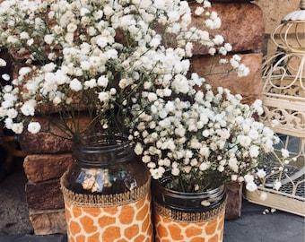 Mason Jar Wrap, Giraffe, Animal Print, Mason Jar Decoration, Baby Shower, Party, Wedding Decoration