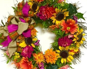 CHRISTMAS IN JULY Indoor Outdoor Wreath Bright Fall Sunflower Wreath All Season Wreath Silk Floral Garden Mixed Variety Wreath Spring Wreath