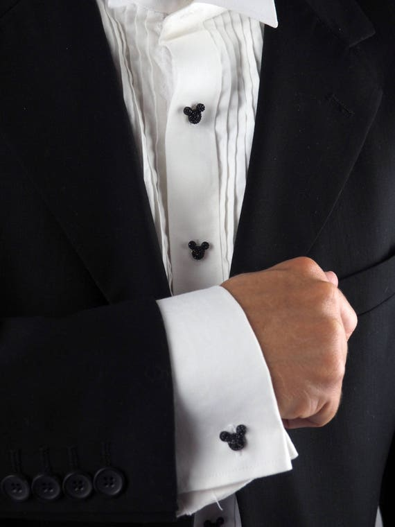 Mickey mouse tuxedo shirt studs cufflinks disney hidden for Stud sets tuxedo shirts