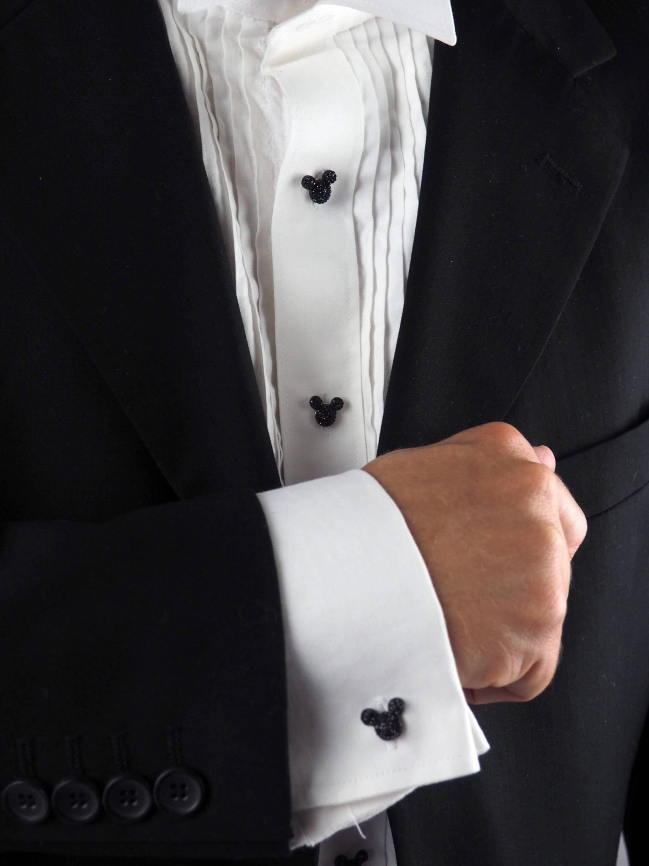 Mickey mouse tuxedo shirt studs cufflinks disney hidden for Tuxedo shirt no studs