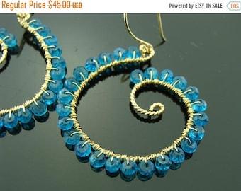 Blue Quartz Hoops 14K Gold Filled Gemstone Earrings