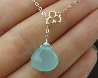 Aqua Blue Chalcedony Sterling Silver Lariat Necklace