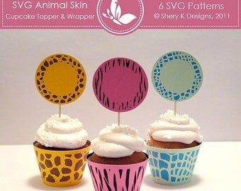 40% off SVG Animal Skin Cupcake Topper and Wrapper