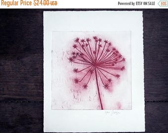 Flower in the wind Large Original Etching, Dandelion, red flower