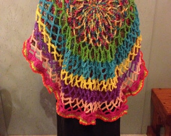 Tie Dye Colored Lacy Shawl
