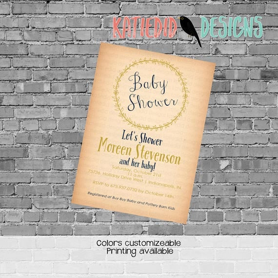 surprise gender reveal rustic baby girl shower invitation kraft paper rustic chic co-ed baby shower laurel wreath Katiedid Designs