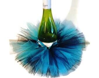 Wine Bottle Tutu-Turquoise and Black-Wine Tutu-Shower Centerpiece-Bridal-Birthday