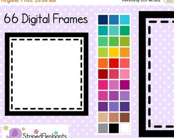 40% OFF SALE Stitched Square Digital Frames - Clip Art Frames - Instant Download - Commercial Use
