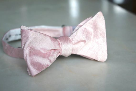 Blush Silk Bow Tie - Groomsmen and wedding tie - clip on, pre-tied with strap or self tying