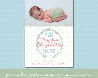 Wreath and Dots Birth Announcement with Photo
