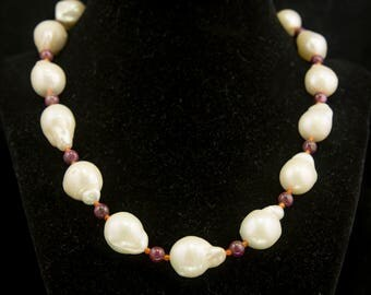 Pearl Necklace, White Philippines Pearls with Pink Star Ruby Beads and Red Carnelian Beads Necklace, Handmade Beaded Necklace Gift (B155012)