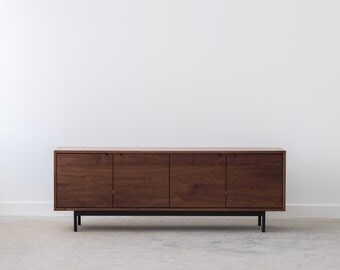 Nelson Credenza - Solid Walnut - Black Steel Pulls and Base