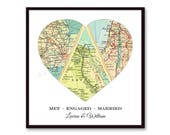 Unique Wedding Gift for Couple, Engagement, Personalized Map Heart Art, Anniversary Gift Bridal Shower Gift, Met Engaged Married 3 Map Heart