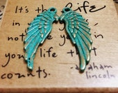 Handpainted Verdigris Patina Angel Wing Charms (Double Sided) (18006) - 34x12mm