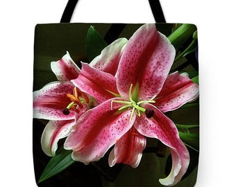 Stargazer Lilies Tote Bag, Grocery Tote Bag, Flower Tote Bag,  Summer Tote Bag, Beach Tote Bag, Patrushka Flower Totes, FREE SHIPPING USA
