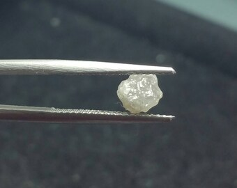 1.43ct 6.9mm silver grey rough diamond 6.9 by 5.25mm approx