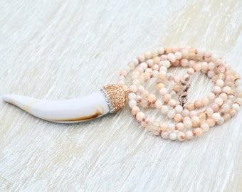Long Agate Horn Necklace, Rhinstone Tusk Pendant Necklace, Long White Agate Stone Necklace, Bohemian Tusk Pendant, Boho Horn Jewelry