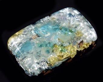 Pocket Orgone with Blue Apatite, Fluorite, Arkansas Crystals, Rhodizite, Phenacite, Petalite, Selenite, Tourmaline, Elite Shungite (d18)