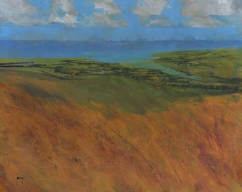 Original abstract landscape painting - From moor to sea