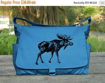On Sale 20% off Custom print canvas messenger bag, boys school bag, travel bag, shopping bag for women, diaper bag in blue color