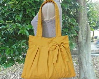 On Sale 20% off Golden cotton canvas tote bag / shoulder bag / hand bag / diaper bag / canvas purse- zipper closure