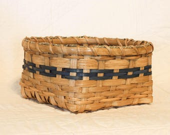Napkin Basket  handwoven with blue