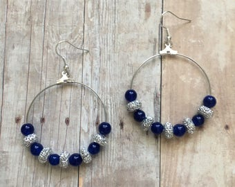 Gorgeous blue and silver beaded dangle earrings