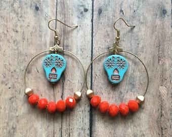 Orange and blue sugar skull earrings