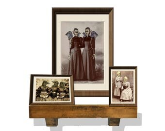 printable halloween Gothic Macabre portraits three different ones skulls, bats and crows