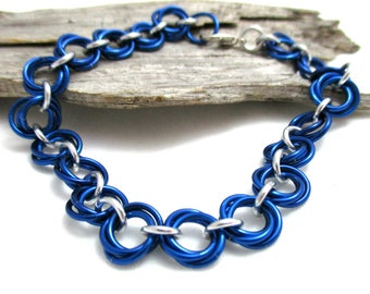 Royal Blue & Silver Chain Maille Bracelet - Royal Blue Mobius Chainmaille Bracelet