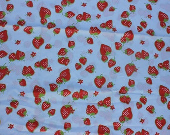 Vintage Strawberry Fabric, Red, White and Green, Klopman Mills, 1971, 2 yards