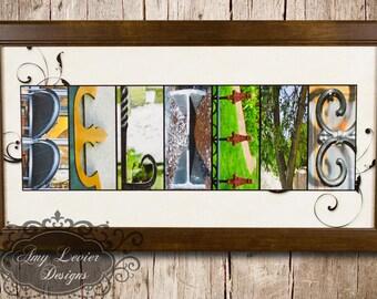 "Alphabet Photography Letter photos ""BELIEVE"" 10x20 Framed"