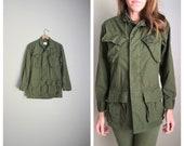 vintage 1970 mans cotton coat rip stop poplin OG-107 Class 1 Combat tropical coat jacket -- mens xsmall short
