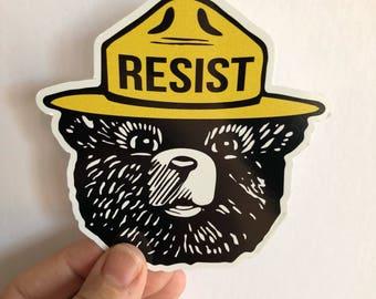 Bear resist bumper sticker   anti trump resistance sticker
