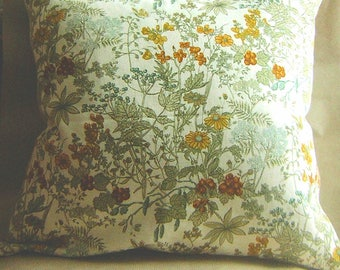 Vintage Cotton Countryside Flowers Cushion Cover