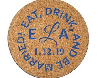 100 Cork Drink Coasters Custom Personalized Wedding Favors Wine Beer Lovers Vineyard Brewery Rustic Wedding