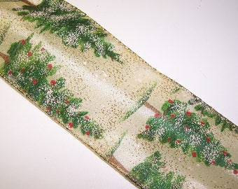 Gold and Green Glitter Christmas Tree Wire Edge Ribbon 5 Yards