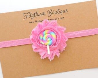 Lollipop headband - Lollipop hair clip - Lollipop hair bow - Candy birthday headband - Rainbow headband - Baby girl rainbow headband