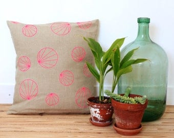 Neon geometric Linen pillow cover