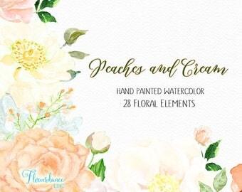 Peach roses clipart, Cream peony Clipart, peony flower clipart, cream hydrangea clipart,peach peony clipart, floral roses clipart