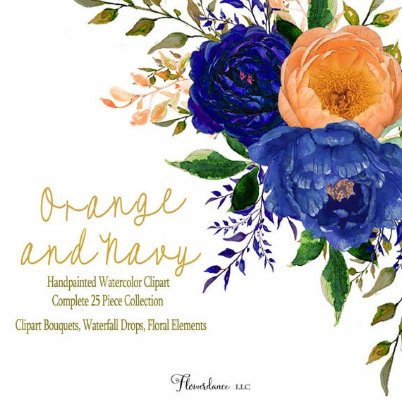 Orange And Navy Watercolor Clipart Navy Blue Flower Clipart
