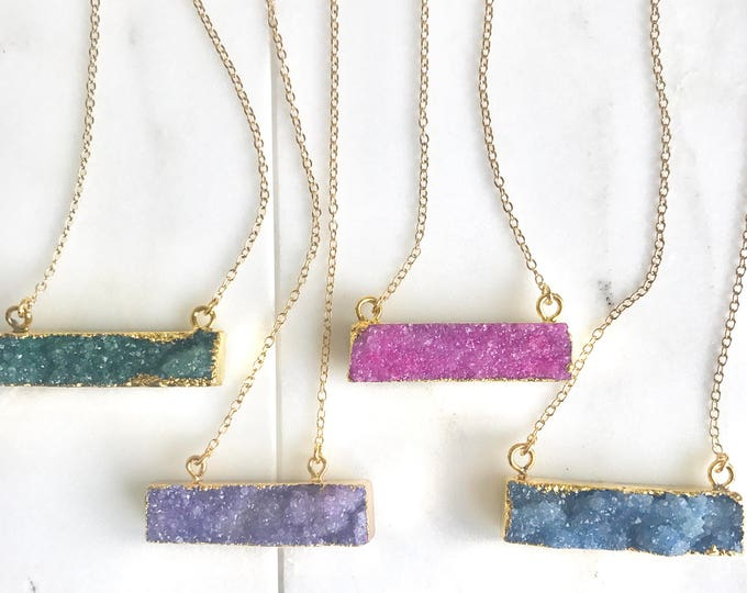 Druzy Bar Necklaces in Gold. Druzy Necklace. Bar Necklace. Geometric Druzy Necklace. Layering Necklace. Druzy Jewelry.