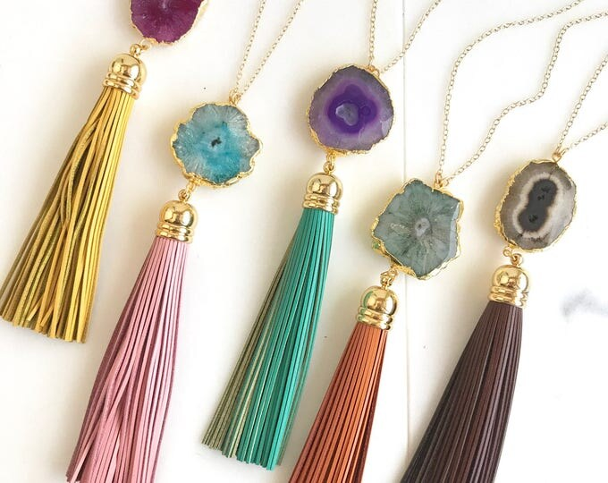 Tassel Necklace. Leather Tassel Necklace. Fall Colors Tassel Necklace. Solar Quartz Crystal Long Tassel Necklace. Boho Tassel Jewelry.