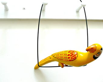 Yellow Ceramic Parrot on a Perch - Vintage Hand Painted Mexican Pottery Bird Wall Garden Patio Porch Decor