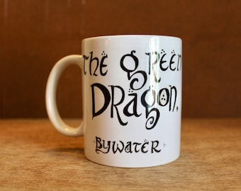 The Green Dragon Inn, Bywater - LOTR Ceramic Mug - Heat-Press Sublimation of Original Watercolor Artwork - Hobbiton Pub Mug