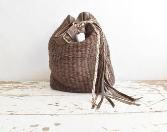 Dark Brown Large Woven Hobo  with Boho Tassels.  Ready to Ship as seen.